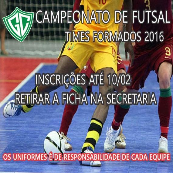 Inscrições Campeonato de  Futsal